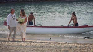 Arriving to your ceremony by boat / canoe is a unique touch for any ceremony