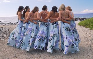 Hawaiian Style Bridesmaids in their floral dresses for a Hawaiian destination wedding